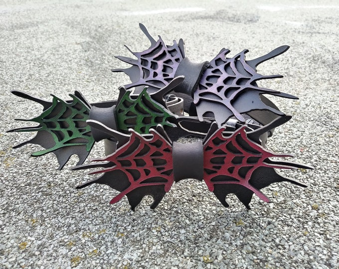 Leather fly leather bow tie tie Halloween spider spider web