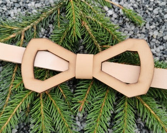 Leather bow tie 'frame - natural'