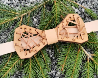Leather bow tie 'frame braided - natural'