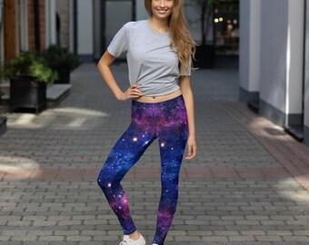 2f586020a7196 Galaxy Leggings, Space Leggings, Purple, Leggings for Women, Cool Leggings, Galaxy  print, Space Pattern