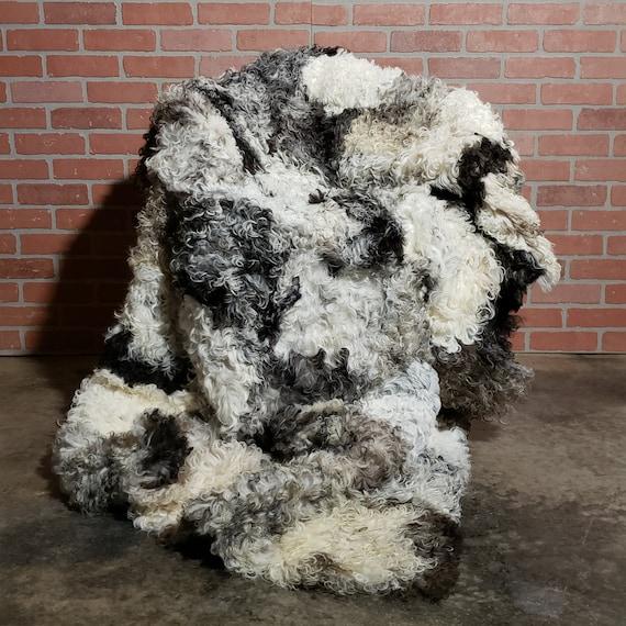 UNIQUE Handmade 5' x 4' Curly Spanish Genuine Sheepskin Shearling wool Fur Throw Blanket