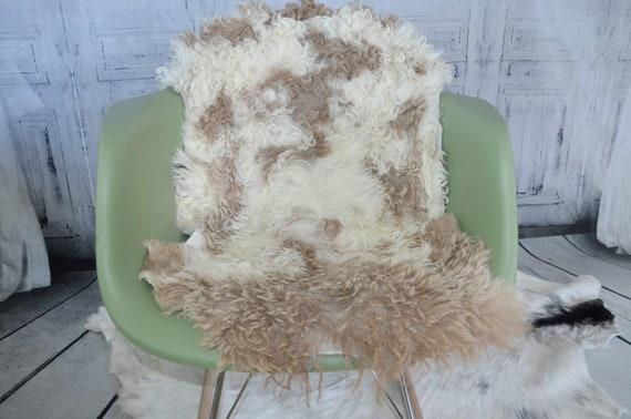 Small Decorative Genuine Sheepskin Spanish Curly Lambskin Fur Throw Rug Pelt or Hide