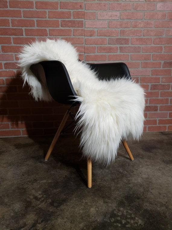 "55"" x 26"" x 3"" long wool shaggy soft natural white sheepskin fur pelt rug"