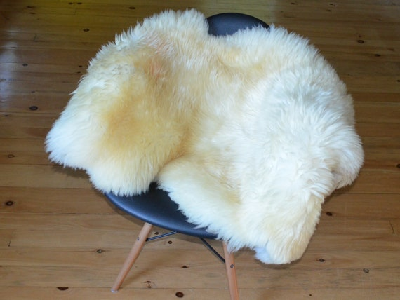 """49"""" x 29"""" soft and thick Natural large genuine sheepskin fur throw rug sale - lambskin pelts"""