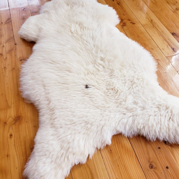 51 x 28 Natural Soft Genuine Sheepskin fur throw rug - Hide Pelt Wool Lambskin Shearling Large