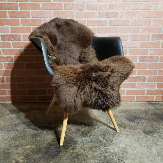 44 x 24  Short wool Brown sheepskin Fur throw rug