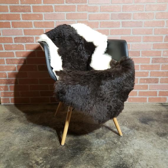"47"" x 28""   Flat short wool genuine sheepskin Fur throw rug"