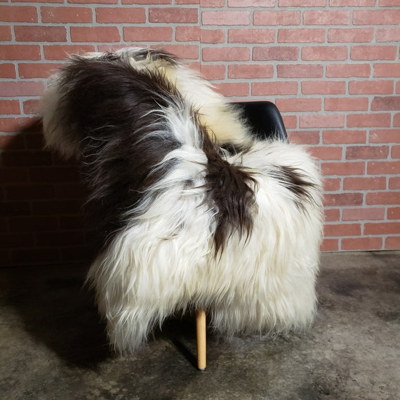 "Rare 55"" X 41"" large Black white Vikings Icelandic Natural genuine sheepskin pelt rug"
