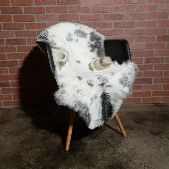 "48"" x 28"" Natural Soft Genuine Sheepskin fur throw rug - Hide Pelt Wool Lambskin Shearling Large Gray White"