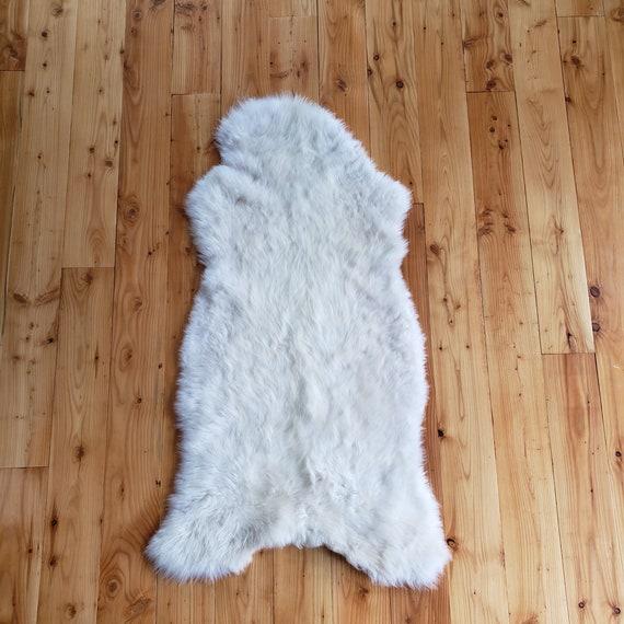 "59"" x 23"" Natural large genuine sheepskin fur throw rug sale - lambskin pelts"