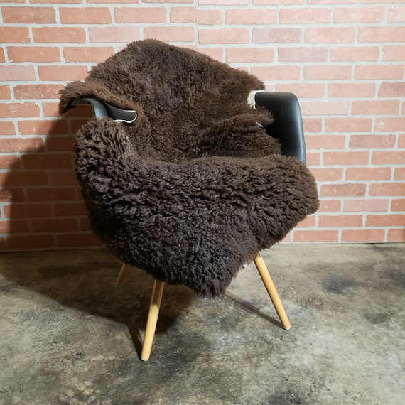 Soft thick curly large Brown genuine sheepskin Fur throw rug