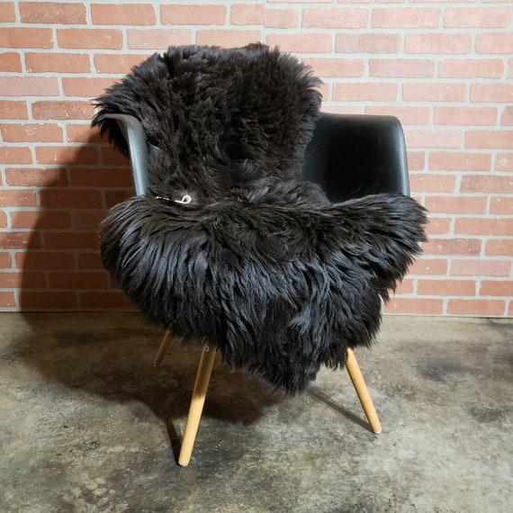 Decorative Black Heidschnucke Genuine Sheepskin fur throw Rug
