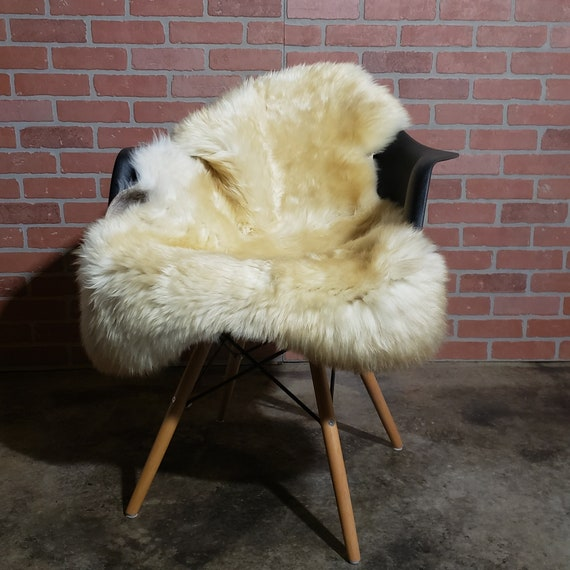 Gold Champagne Silky Soft Swedish Large Genuine Sheepskin fur pelt throw rug hide