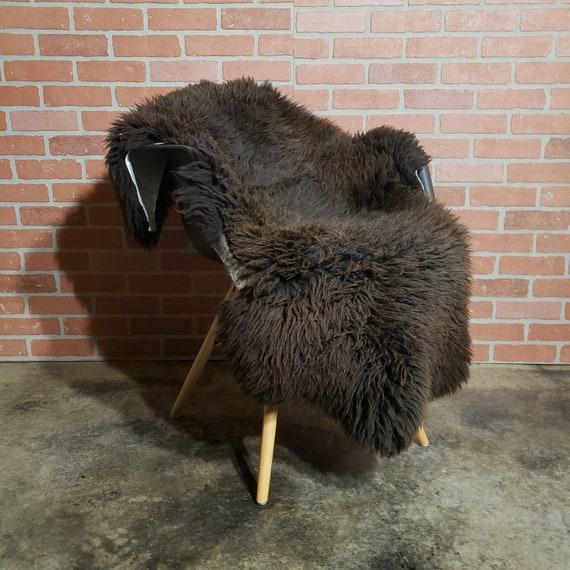 "46"" x 32""  Large Brown genuine sheepskin Fur throw rug"