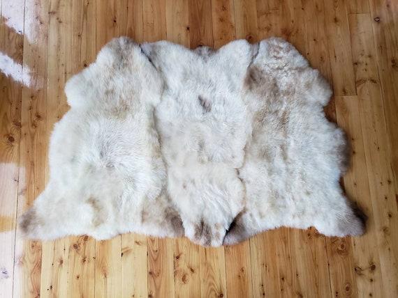 "70"" x 45"" silky soft natural Genuine Sheepskin fur pelt throw rug"