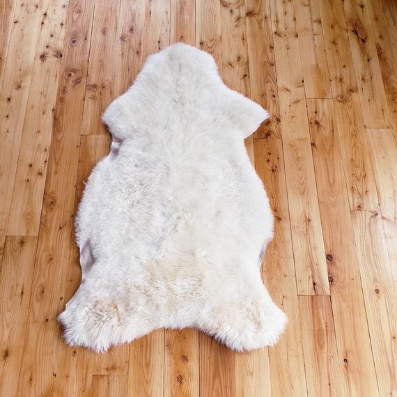 "58"" x 33""  Natural large genuine sheepskin fur throw rug sale - lambskin pelts"