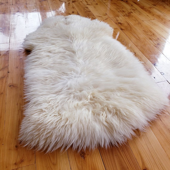 "52"" x 28"" Thick Natural large genuine sheepskin fur throw rug sale - lambskin pelts"