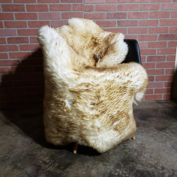 thick heavy plush LARGE Genuine sheepskin wool fur throw pelt rug