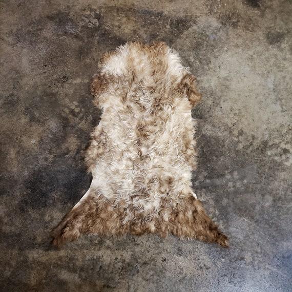 "33"" Small Decorative Genuine Sheepskin Spanish Curly Lambskin Fur Throw Rug Pelt or Hide"