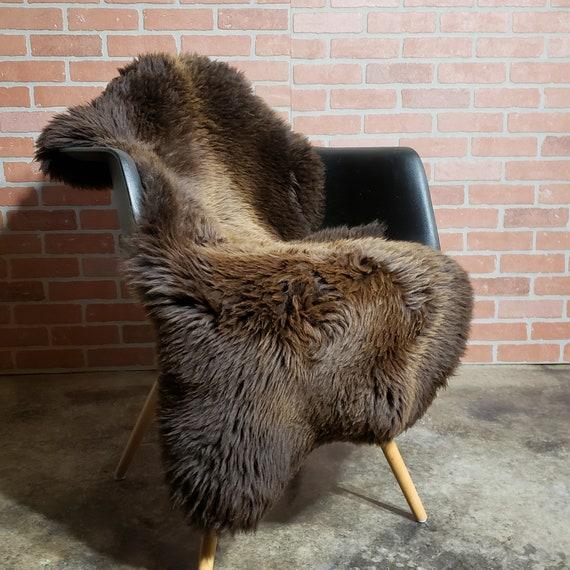 Brown Natural large genuine sheepskin fur throw rug
