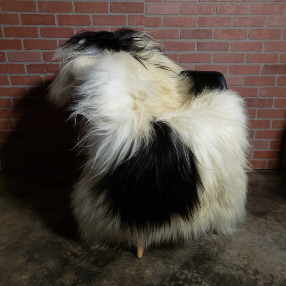 "Rare 57"" X 39"" GIANT Black white Vikings Icelandic Natural Large genuine sheepskin pelt rug"