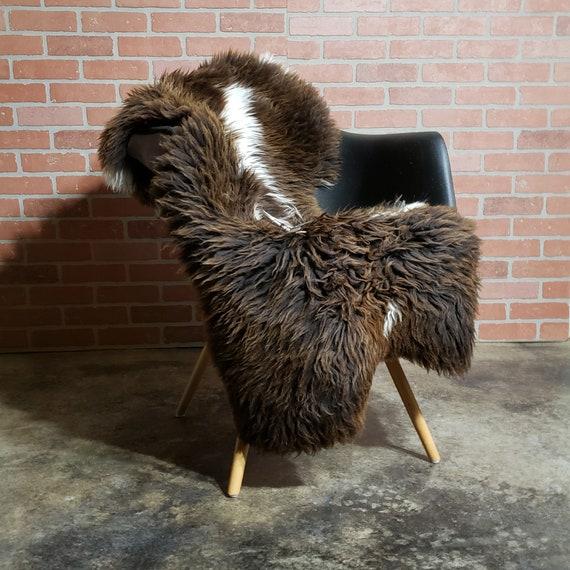 Brown spotted Natural large genuine sheepskin fur throw rug