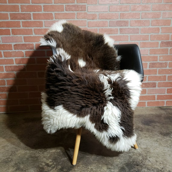 Thick Spotted Brown Natural large genuine sheepskin fur throw rug