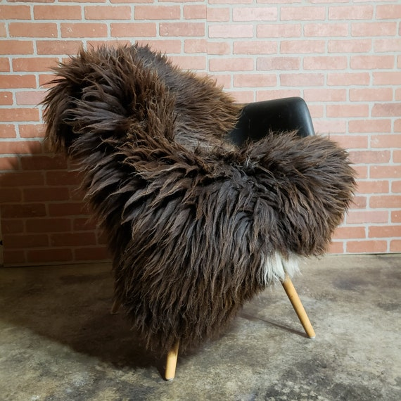 Stitched and scarred  Large thick Brown genuine sheepskin Fur throw rug