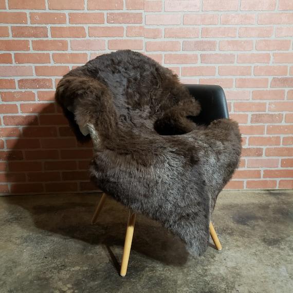 "Natural Brown 50"" x 35"" Natural large genuine sheepskin fur throw rug sale - lambskin pelts"