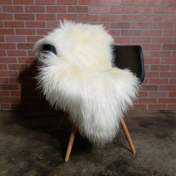 "54"" x 30"" x 5"" long wool shaggy soft natural white sheepskin fur pelt rug"