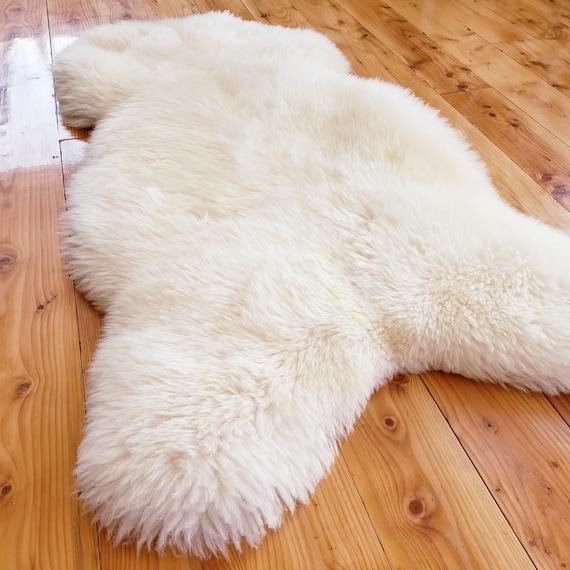 "52"" x 28"" Genuine sheepskin fur throw rug pelt - mid century eames chair pad or cushion"