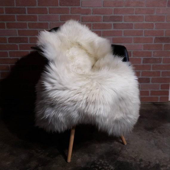 "52"" X 33"" Natural large genuine sheepskin fur throw rug sale - lambskin pelts"