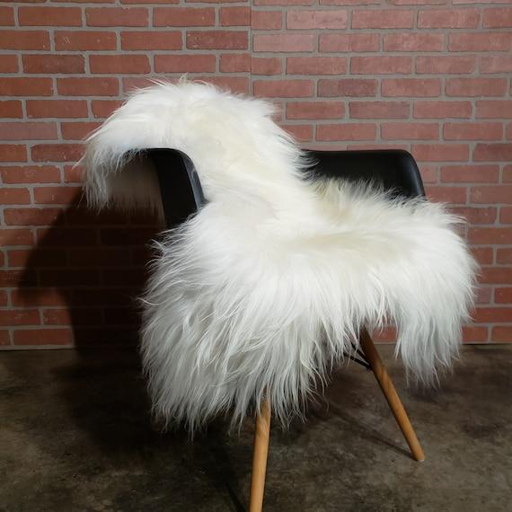 "52"" x 31"" x 4-5"" long wool shaggy soft natural white sheepskin fur pelt rug"