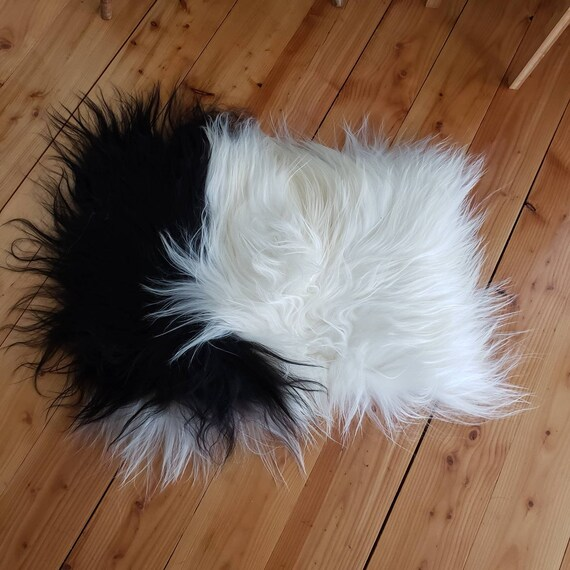 Black + White Cozy kitty cat or small dog bed / mat - 100% Genuine Icelandic sheepskin