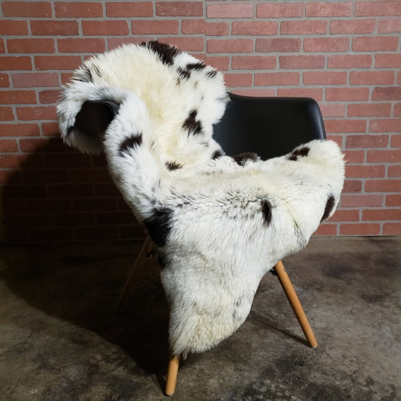 One of a kind genuine sheepskin lambskin shearling pelt throw