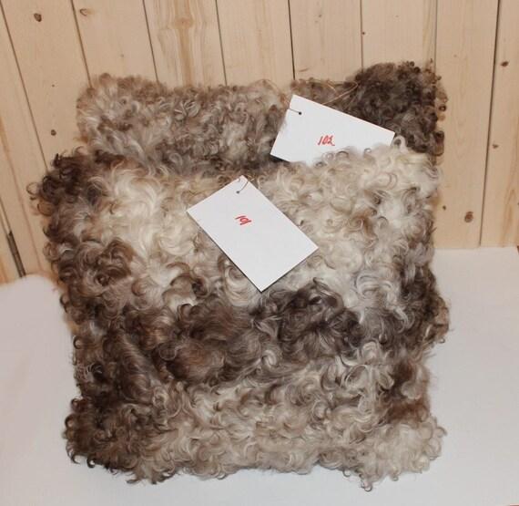 "Handmade Curly Genuine Spanish Toscana lambskin sheepskin Throw Pillows Covers Brown Ivory 17"" x 18"""