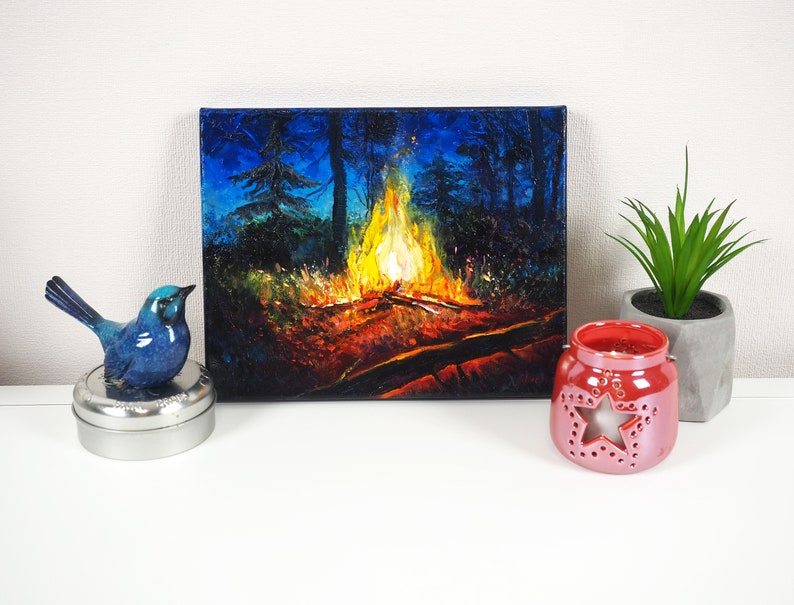 Campfire Painting Fire Oil on Canvas Hiker Gift Farmhouse Wall Decor Flame Oil Painting Canvas Wall Art Night Landscape