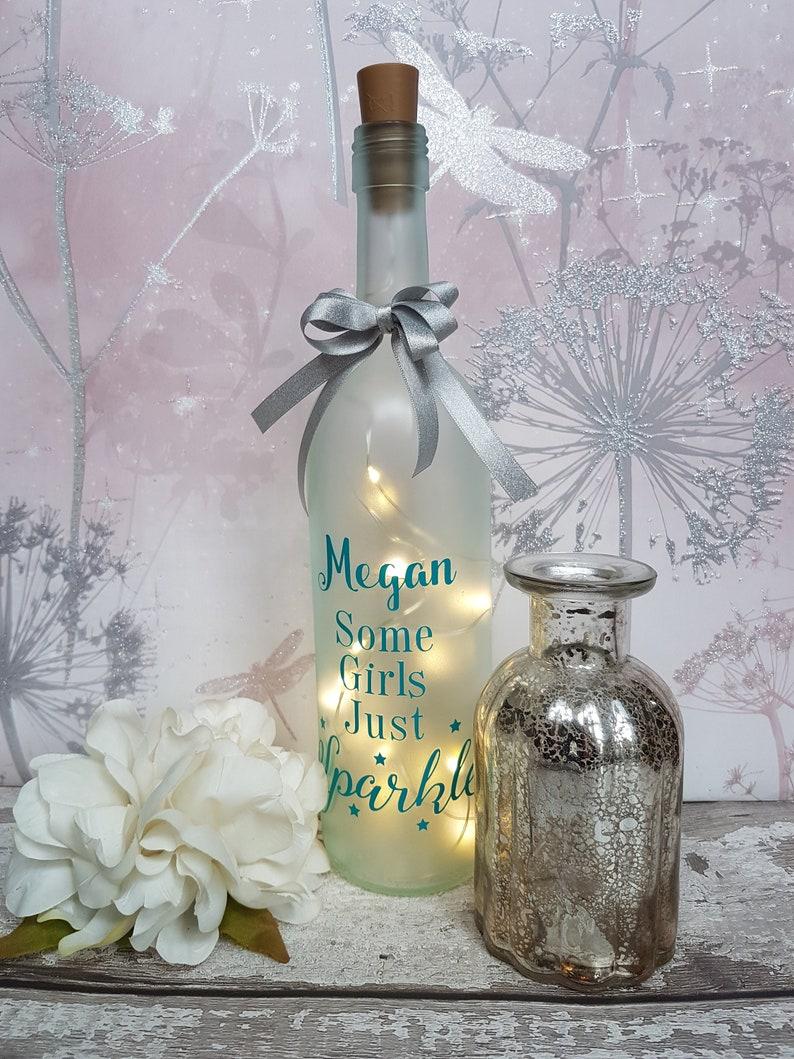 Pink Flamingo Glitter LED Light Up Bottle Decoration Home Ideal Gift