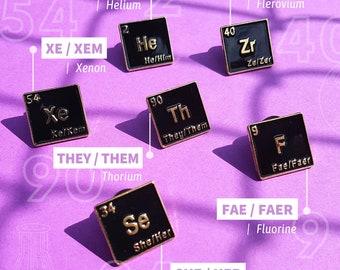 Pronoun Pins - He Him, She Her, They Them, Fae Faer, Ze Zer, Xe Xem, Neo Pronouns - Trans - Non binary - Genderqueer - LGBTQI
