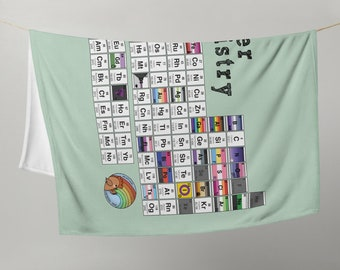 Queer Chemistry Periodic Table Throw Blanket Mint color | LGBT PRIDE Science-themed Throw Blanket