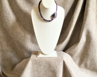 Amethyst pendant, amethyst beads, sterling silver beads, hand strung with sterling silver findings