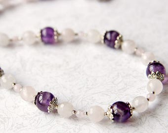 Gemstone Necklace Amethyst Necklace Rose Quartz Necklace Violet Necklace White necklace Gift for Girl, Gift for Women, Natural stone jewelry