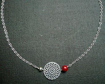 Silver mandala necklace / sea bamboo