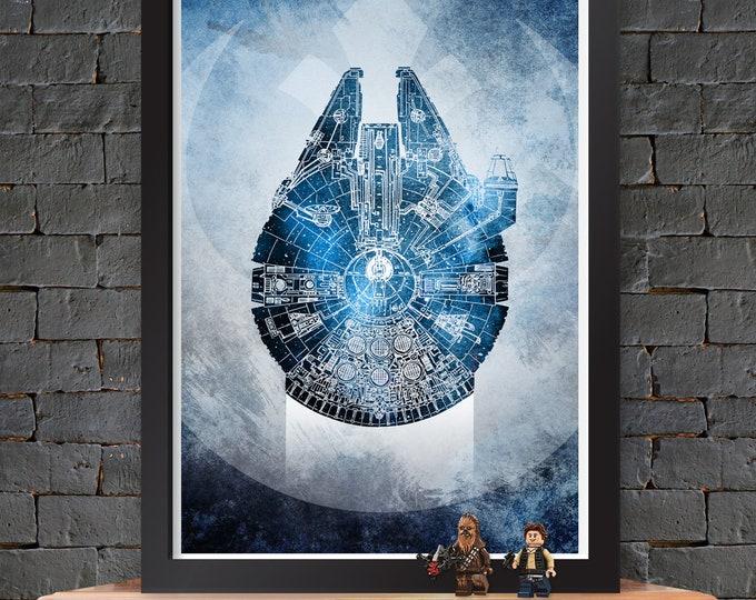 Millennium Falcon - Star Wars X-Wing Poster Lustre Print