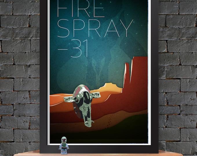 Boba Fett - Slave 1 - Firespray-31 – Star Wars X-Wing Poster Lustre Print