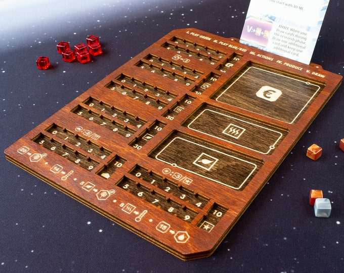 Featured listing image: Terraforming Mars - Ares Expedition - Player Board - Two-Toned Cognac & Kona