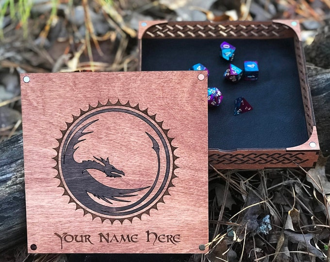 Wooden Dice Tray and Box with Lid | Walnut Stained | DND | Pathfinder