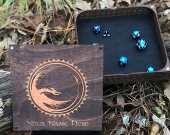Wooden Dice Tray and Box with Lid | Kona Stained | DND | Pathfinder
