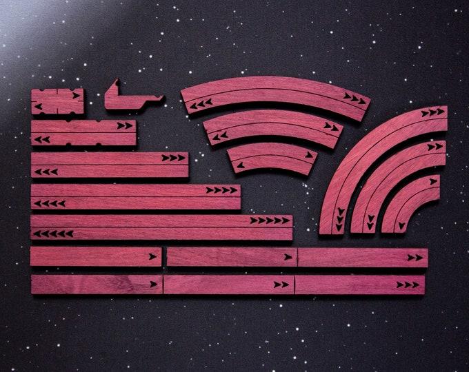 X-Wing Templates and Range Rulers - Hardwood - Purpleheart