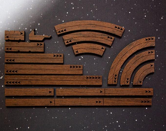 X-Wing Templates and Range Rulers - Hardwood - Wenge Wood